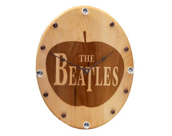 Wood burned clock / with John, Paul, George & Ringo Face Accents