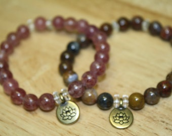 8mm Pietersite, Strawberry Quartz Lotus Stretch Bracelet