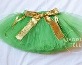 GREEN with Glitter GOLD BOW Ribbon Tutu, St. Patrick's Day, St. Patty's Day - Sizes Newborn to 5t