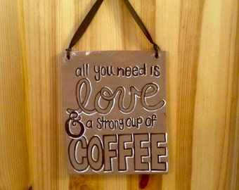 Love & Coffee hanging art