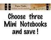 Set of 3 Mini Notebooks Pocket Journals Eco Friendly Journal Sketchbook Stocking Stuffers