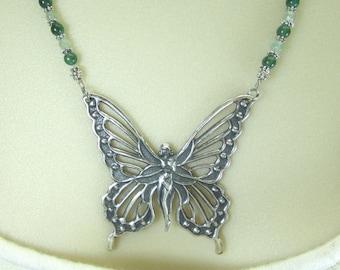Large Fairy necklace green aventurine