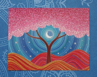 Moonlit Blossoms- Art Postcard by Elspeth McLean