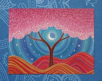 Moonlit Blossoms- Art Postcard by Elspeth McLean