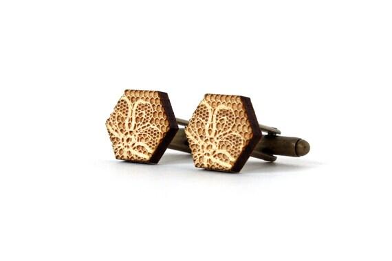 Hexagon cufflinks with lace pattern - floral cufflinks - lasercut wood - geometric - romantic wedding accessory - accessory for men