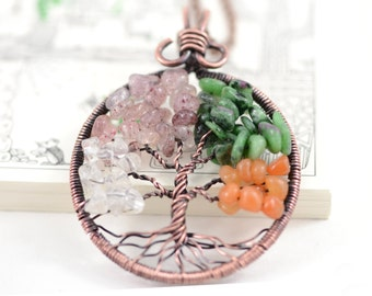 Four Seasons Tree of Life Pendant Necklace Family Tree Copper Wire Pendant Crystal Quartz Rose Quartz Ruby Zoisite Red Aventurine Stone Boho