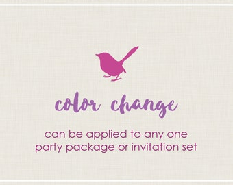 Color Change for any Invitation OR Party Package Set