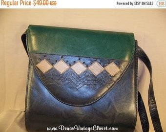 SALE 50% OFF Vintage Margaret J Leather Shoulder Bag Purse Color Block Spain
