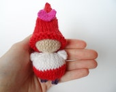 Valentine's Day Pocket Gnome, Heart Gnome, Red, Pink, White, Purple, Seasonal Waldorf, Winter, Wool Toy