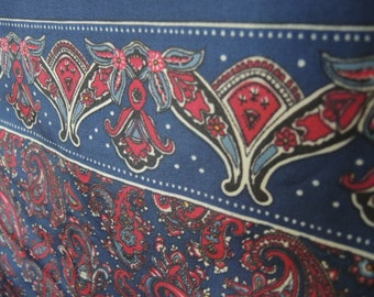 Vintage acetate scarf paisley blue red 26 x 26 inches