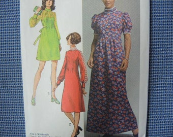 vintage 1970s Simplicity sewing pattern 9080 misses dress in three lengths size 12