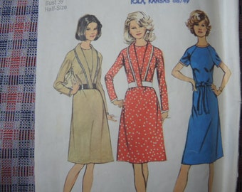 vintage 1970s Simplicity sewing pattern 6562 misses dress size 16 1/2