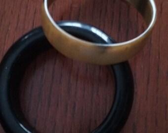 Pono bangle bracelet in Butterscotch  & Large black resin/plastic bangle bracelet