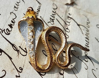 Stunning Vintage French Gold-tone Cobra Snake  Pin Brooch / Rare Coiled Cobra Pin Brooch-set with Rhinestones-Amazing piece!