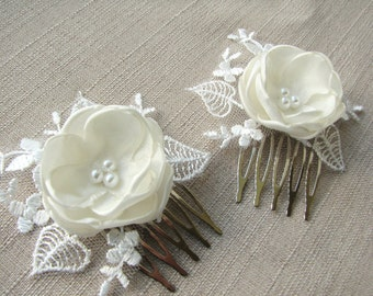 Bridal lace headpiece Hair comb Ivory floral Wedding hair piece Beaded lace headpiece