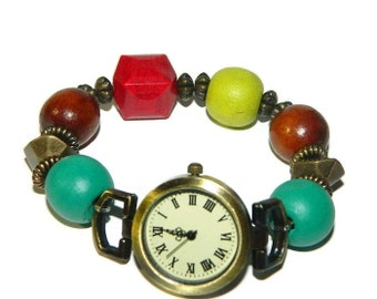 Bracelet Watch, Beaded Watch, Watch With Wooden Bead Band, Ladies Watch