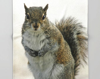 Fleece Throw Blanket, Gray Squirrel, Throw Blanket, Photo Throw Blanket, Home Decor, Bedding, Sherpa Throw, Photography