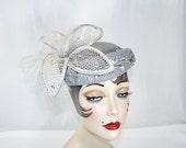 Vintage Silver Flower Hat by Deborah Vintage Silver Wedding Hat Silver Sequin Sparkly Cocktail Hat Church Hat Garden Party
