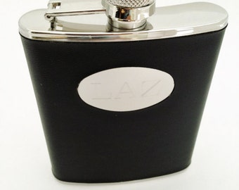 Wedding Flask Black Wrapped Flask with Personalized with Monogram Gifts for Men Groom Groomsman Groomsmen Present
