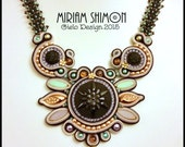 Black Mint Gold and Lilac soutache necklace