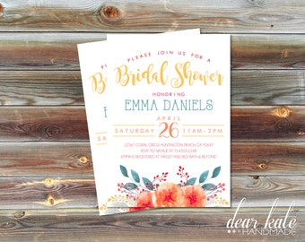 CUSTOM Bridal Shower Invitation- Simple Modern Watercolor Flowers