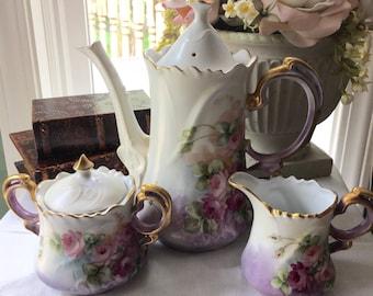 Rare Lefton Roses Tea Set Teapot Sugar and Creamer Set