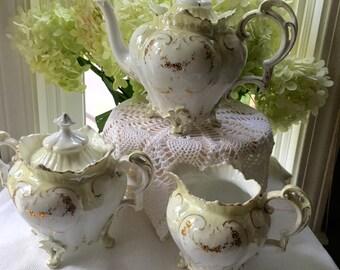 Stunning R S Prussia Tea Set Teapot Sugar Bowl and Creamer Reinhold Schlegelmich Mold #706