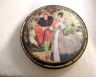 Canco Art Deco Round Tin, Medieval Couple, Colorful