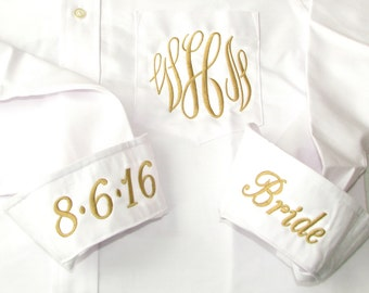White Bridal Party Shirt - Monogrammed Button Down Wedding Day Shirt