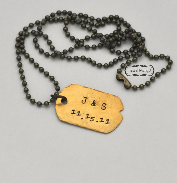 Personalized dog tag necklace, gift for men, gift for women, unisex, anniversary gift, initials and date, ball chain, brass, custom gifts