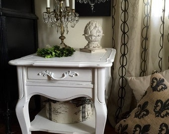 Vintage French Provincial End Table/Nightstand Hand Painted Annie Sloan Pure White