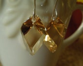 Swarovski Crystal Golden Shadow and Argentium Silver Earrings