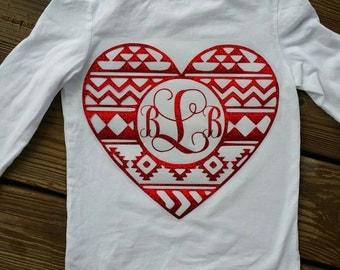 Aztec Heart/Aztec Valentine Shirt/ Valentine Shirt/ Girls Valentine Shirt/Monogram Valentine Shirt