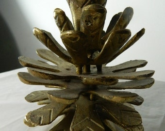 Vintage Brass Pine Cone Heavy Brass Candle Holder Pine Cone India Brass Christmas Decor