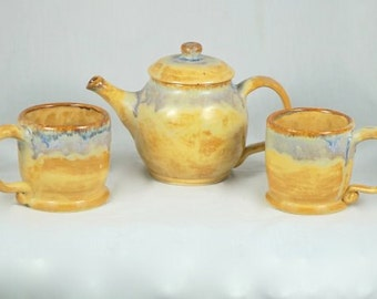 Handmade Ceramic Tea Set, gold yellow brown blue, Hand Thrown Stoneware Tea Set, Tea Cups, Stoneware Pottery