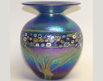 Silver Blue Iridescent Vines Vase