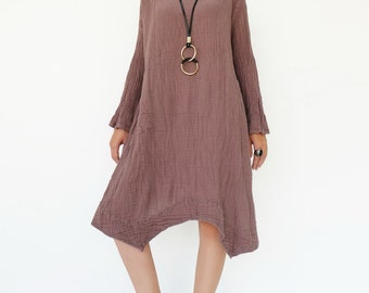 NO.201 Brownish Pink Double Cotton Gauze Long Sleeves Tunic Dress, Boat-Neck Dress, Stitch Detail Tunic, Women's Tunic