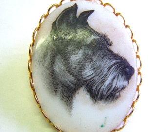 25% Off Storewide Sale Miniature Schnauzer Terrier Dog Handpainted Porcelain Brooch or Pin
