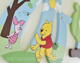 Winnie the Pooh Themed Hand Painted Personalized Wooden Nursery Letters