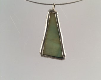 Dusty Green Stained Glass Pendant, Stained Glass Pendant, Recycled Glass Pendant