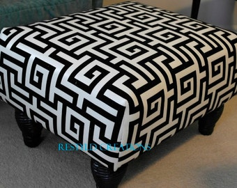Black and White Greek Key Ottoman