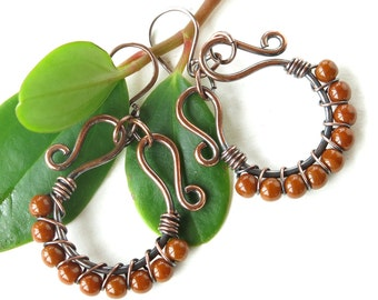 Beaded hoop earrings - copper wire wrapped hoops & caramel beads
