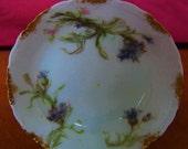 LIMOGES HAVILAND & Co. Haviland Vintage  Butter Pat  Antique  Porcelain China  Purple  Blue Flowers