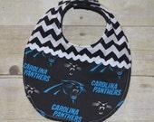 Carolina Panthers with Black and White Chevron NFL Baby Bib
