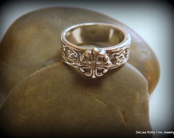 Recycled Silver, Diamond Alternative, Natural White Sapphire Ring, Eco Friendly, Fashion Ring, Renaissance Romance Collection