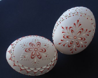 PRE-EASTER SALE, Easter Eggs, Carved and Wax-Embossed Set of 2 Chicken Eggs, Pysanky Eggs, Madeira Eggs