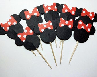24 Minnie Mouse  Cupcake Toppers - Mickey Mouse Cupcake Picks - Minnie Mouse Red and White Polka Dot Cupcake Toppers - Cupcake Toppers