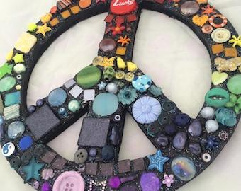 Mosaic peace sign chakra colours wall hanging