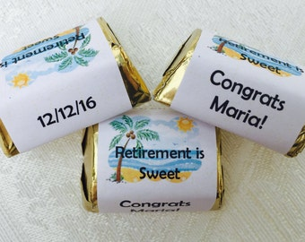 210 Personalized Woman Retirement Beach Theme WRAPPERS/LABELS/stickers for your Hershey Nugget Chocolates - Makes Great Party Favors