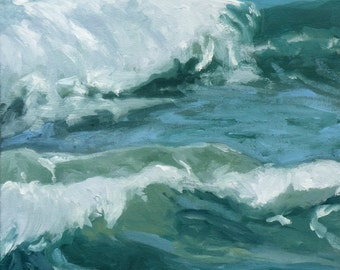 """Caribbean Blues waves Mexican Riviera oil painting, 12""""X12"""" , art  by Maine artist Adrienne Kernan LaVallee Art & Collectibles"""